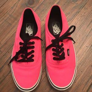 Hot Pink Vans shoes- women's size 8 / Men's 6.5
